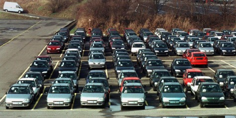 Overview of the parking lot at the occupied Renault assembly plant in Vilvoorde, near Brussels late ..